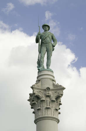 solider: Confederate Solider statue at park that overlooks James River in Richmond Virginia