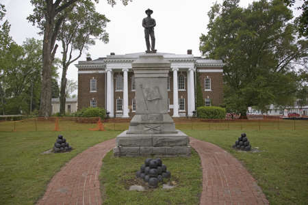 solider: Old Court House with confederate solider statue in Surry, Virginia