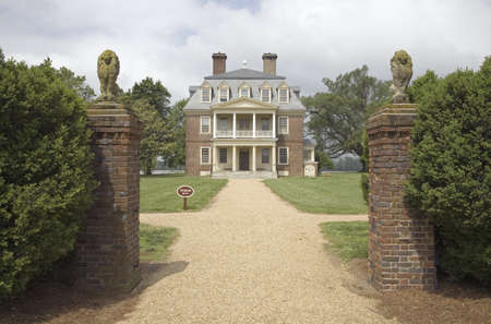 charles county: Front gates of Shirley Plantation on the James River, Virginias First Plantation founded in 1613 and Americas first home-based business, first to use slaves and operated for 12 generations by the Hill-Carter family. Editorial