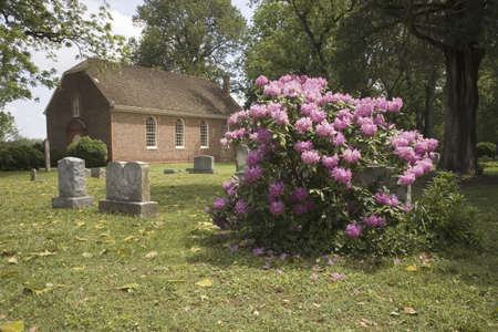 charles county: Azaleas blooming in front of Westover Parish, an English Episcopal Church, in Charles City County, Virginia established in close proximity to the original settlement at Jamestown in 1613. About 1730 the construction of the present Westover Church was comp Editorial