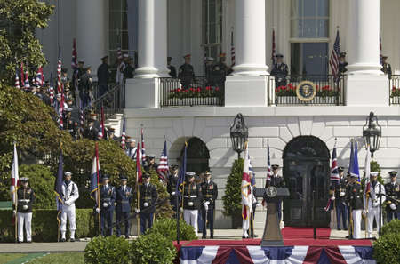Display of British Union Jack Flag and American Flags in front of the South Portico of the White House, as part of the Official Welcoming of Her Majesty Queen Elizabeth II and His Royal Highness The Prince Philip Duke of Edinburgh Monday, May 7, 2007