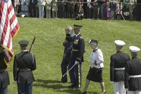 guard house: President George W. Bush and Queen Elizabeth II reviewing the troops in front of the South Lawn of the White House for the May 7, 2007 Official State Welcoming of Her Majesty Queen Elizabeth II and Prince Philip, the Duke of Edinburgh to Washington, DC an Editorial