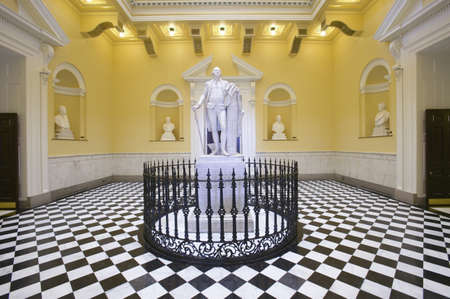 Original life-size statue of George Washington by Jean-Antoine Houdon in restored Virginia State Capitol Rotunda, Richmond Virginia Stock Photo - 20803442