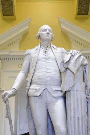 statesman: Original life-size statue of George Washington by Jean-Antoine Houdon in restored Virginia State Capitol Rotunda, Richmond Virginia