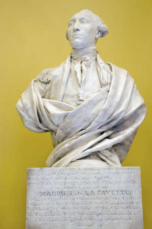 busts: Original sculptor of Marquis de Lafayette, the American Revolutionary War hero from France, by Jean-Antoine Houdon, in restored Virginia State Capitol Rotunda, Richmond Virginia