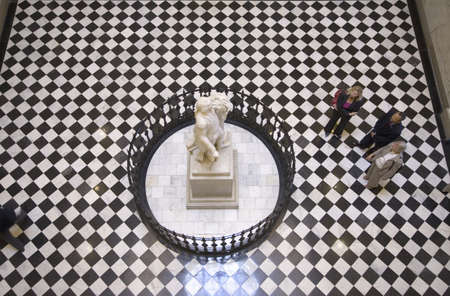 statesman: View of looking down at life-size statue of George Washington by Jean-Antoine Houdon in restored Virginia State Capitol Rotunda, Richmond Virginia