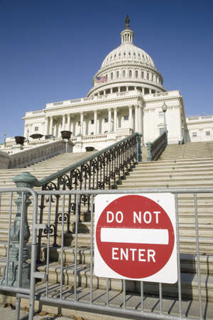 do not enter warning sign: Sign saying Do Not Enter warning U.S. Citizens that there is no access to the U.S. Capitol, the symbol of Democracy, Washington, DC Editorial