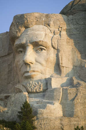 Close-up of President Abraham Lincoln at Mount Rushmore National Memorial, South Dakota