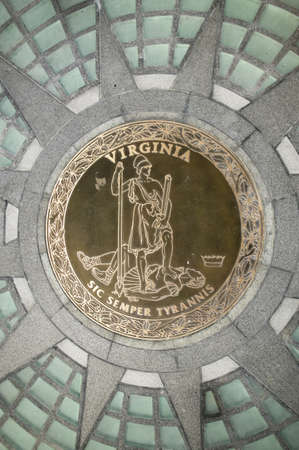 sic: The 2007 restored Virginia State Capitol and the State Seal of Virginia, designed by Thomas Jefferson who was inspired by Greek and Roman Architecture, Richmond, Virginia