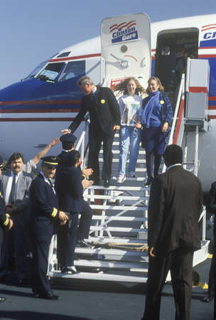 disembark: Governor Bill Clinton, wife Hillary and daughter Chelsea disembark an airplane on Election Day Nov. 3 of 1992 in Little Rock, Arkansas Editorial