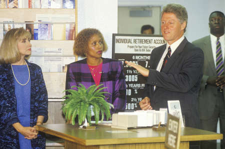 campaigning: Governor Bill Clinton and wife Hillary attend a job training class at the Maxine Waters Employment Preparation Center in 1992 in So. Central, LA