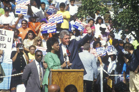 campaigning: Governor Bill Clinton and Congresswoman Maxine Waters at the Maxine Waters Employment Preparation Center in 1992 in So. Central, LA Editorial