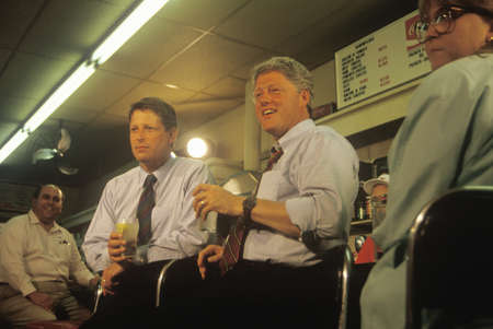 Governor Bill Clinton and Senator Al Gore meet the town's people at Dee's Restaurant on the 1992 Buscapade campaign tour in Corsicana, Texas