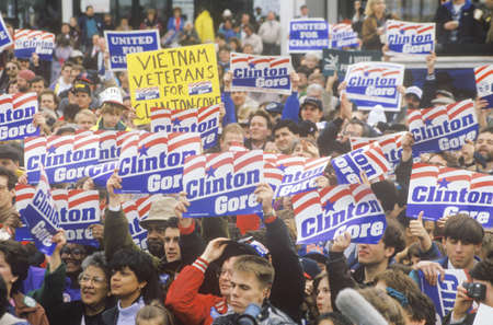 campaigning: Crowd greets Governor Bill Clinton at a Ohio campaign rally in 1992 on his final day of campaigning, Cleveland, Ohio Editorial