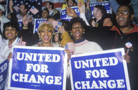 campaigning: United For Change signs at a St. Louis campaign rally in 1992, Bill Clintons final day of campaigning in St. Louis, Missouri