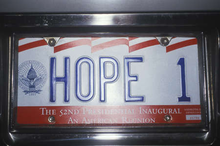 license plate: License plate reads Hope 1