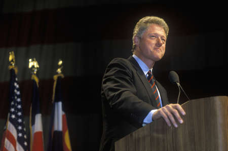 Governor Bill Clinton addresses Denver campaign rally in 1992 on Bill Clintons final day of campaigning in Denver, Colorado