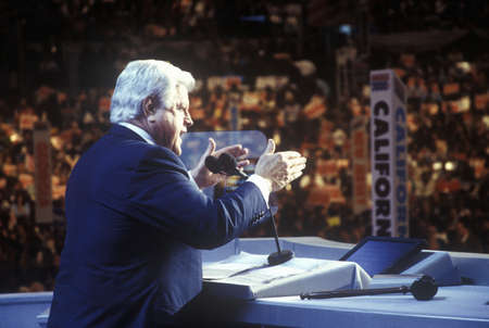 Senator Ted Kennedy address the crowd at the 2000 Democratic Convention at the Staples Center, Los Angeles, CA