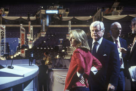 ted: Senator Ted Kennedy and Caroline Kennedy at the 2000 Democratic Convention at the Staples Center, Los Angeles, CA  Editorial