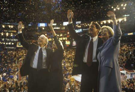 Former Vice President Al Gore and Senator Joe Liebermans acceptance speech at the 2000 Democratic Convention at the Staples Center, Los Angeles, CA  Editorial