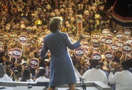Tipper Gore on stage following Former Vice President Al Gores acceptance speech at the 2000 Democratic Convention at the Staples Center, Los Angeles, CA