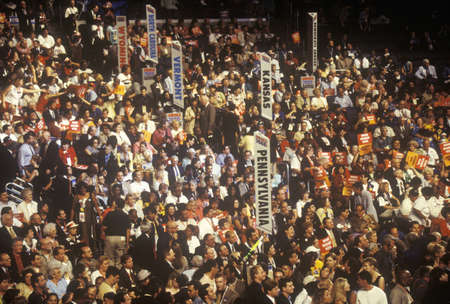 State delegations and signs at the 2000 Democratic Convention at the Staples Center, Los Angeles, CA  Editorial