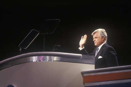 Senator Ted Kennedy addresses crowd at the 1992 Democratic National Convention at Madison Square Garden, New York