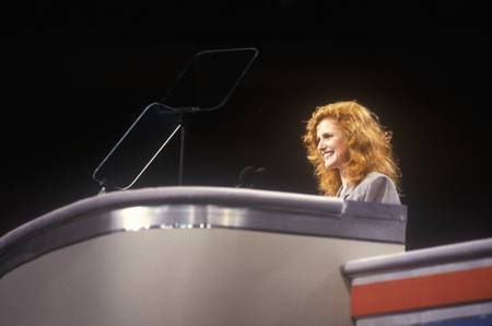 Jodie Evans addresses crowd at the 1992 Democratic National Convention at Madison Square Garden, New York
