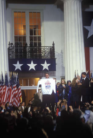 Governor Bill Clinton gives victory speech at the Governors Mansion, 1992 in Little Rock, Arkansas