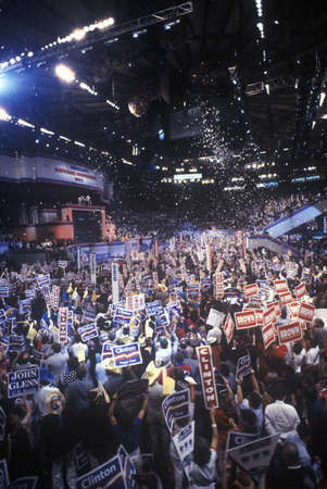 Delegates cheer for Clintons nomination at the 1992 Democratic National Convention at Madison Square Garden, New York