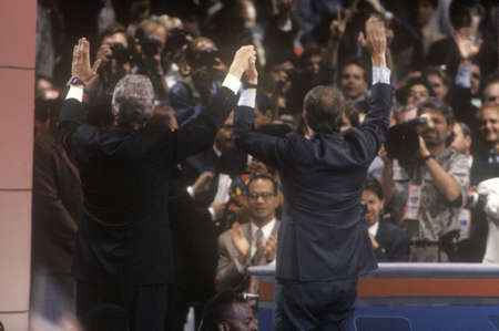 Bill Clinton and Al Gores nomination at the 1992 Democratic National Convention at Madison Square Garden, New York