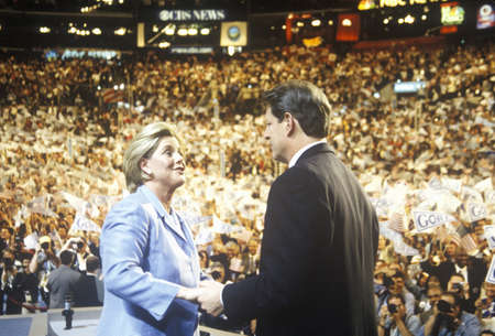 Former Vice President Al Gore delivers acceptance speech at the 2000 Democratic Convention at the Staples Center, Los Angeles, CA  Editorial