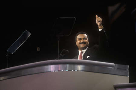 1992 Democratic National Convention Chairman, Ronald Brown, addresses crowd at Madison Square Garden, New York