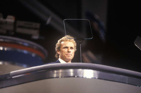 Former Congressman Joseph Kennedy addresses crowd at the 1992 Democratic National Convention at Madison Square Garden, New York