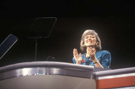 Former Congresswoman Pat Schroeder addresses crowd at the 1992 Democratic National Convention at Madison Square Garden, New York