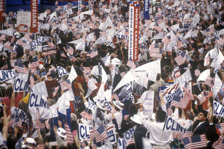 delegates: Delegates cheer for Clintons nomination at the 1992 Democratic National Convention at Madison Square Garden, New York Editorial