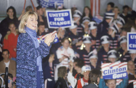 campaigning: Hillary Rodham Clinton at a Michigan campaign rally in 1992 on Bill Clintons final day of campaigning in Detroit, Michigan