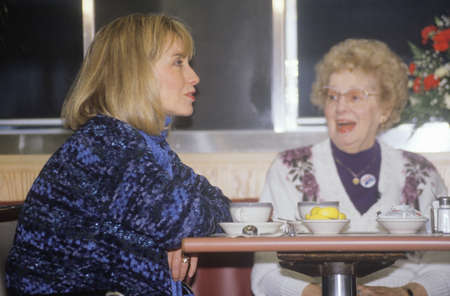 campaigning: Hillary Rodham Clinton meets with townspeople at the Mayfield Diner in 1992 on Bill Clintons final day of campaigning in Philadelphia, Pennsylvania
