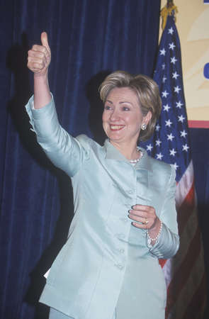 speaks: Hillary Rodham Clinton, speaks at the National Caucus of Latino Delegates, at the 2000 Democratic Convention at the Staples Center, Los Angeles, CA
