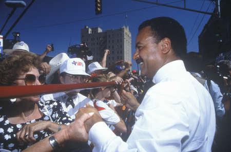 campaigning: DNC Chairman Ron Brown at a Ohio campaign rally in 1992 on Bill Clintons final day of campaigning in Cleveland, Ohio Editorial
