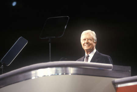 Former President Jimmy Carter at the 1992 Democratic National Convention at Madison Square Garden, New York Redactioneel
