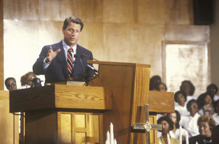 Senator Al Gore at the Olivet Baptist Church in Cleveland, Ohio during the Clinton/Gore 1992 Buscapade Great Lakes campaign tour
