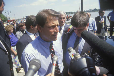Senator Al Gore on the Clinton/Gore 1992 Buscapade campaign tour in Toledo, Ohio