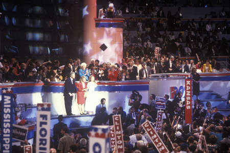 The Clinton family accepts the nomination at the 1992 Democratic National Convention at Madison Square Garden, New York