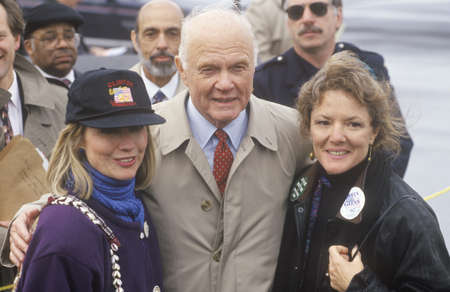 campaigning: Hillary Rodham Clinton and former Senator John Glenn at a Ohio campaign rally in 1992 on Bill Clintons final day of campaigning in Cleveland, Ohio
