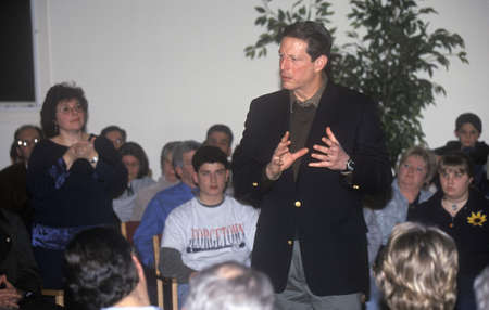 jewish town: Democratic presidential candidate Al Gore speaks at a Jewish Town Hall Meeting at Temple Beth Jacob in Concord, New Hampshire, before the 2000 primary Editorial