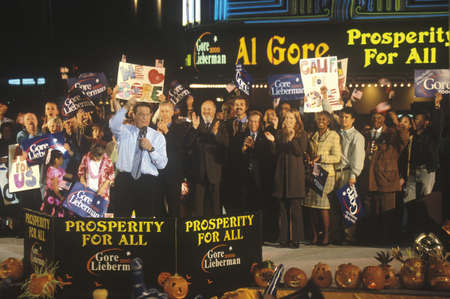 campaigning: Vice President Al Gore at a Presidential rally for GoreLieberman on October 31st of 2000 in Westwood Village, Los Angeles, California