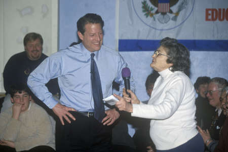 Vice President Al Gore campaigns for the Democratic presidential nomination in Salem, New Hampshire, before the primary