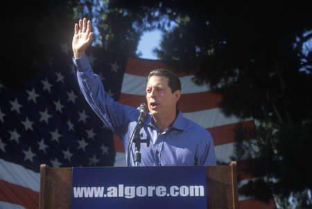 campaigning: Vice President Al Gore campaigns for the Democratic presidential nomination at Lakewood Park in Sunnyvale, California Editorial