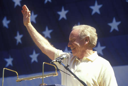 campaigning: Senator Joe Lieberman campaigns for vice president during a rally at California State University at Fresno Editorial